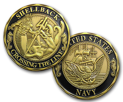 US NAVY MARINE CORPS SHELLBACK CROSSING THE LINE Challenge Coin