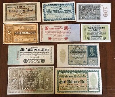 G10 Germany 1922 1923 Hyperinflation lot/10 Banknotes 100 Million Billion Marks