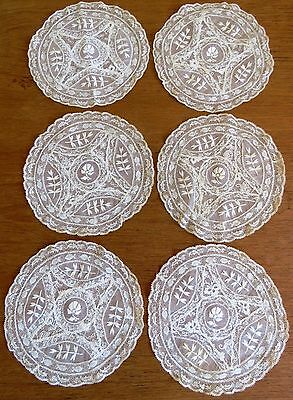 Lace Doilies French Antique Vintage Embroidered Normandy Table Doily Mats Cream