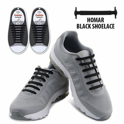 Black Elastic Lacing Shoe No Tie Shoelaces Silicon Flat Hickies 16 pcs for Adult