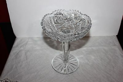 Gorgeous Cut Glass Crystal?  Compote with Cut Stem