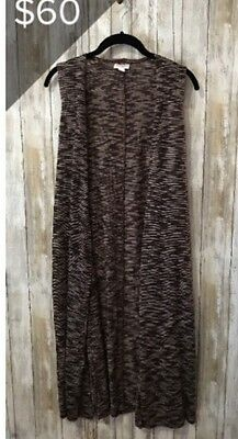 Lularoe Xs Extra Small Women's Joy Vest. Open Front. Brown Micro Stripes
