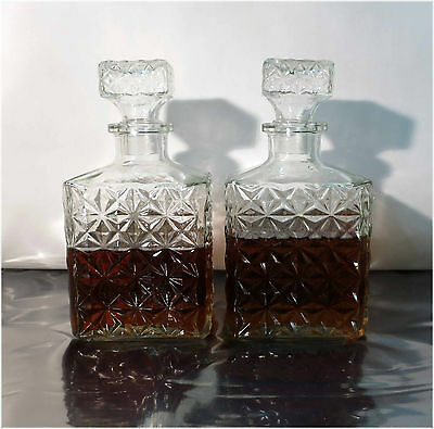 2 x Vintage Cut Glass Whiskey, Bourbon, Tequila or Scotch Decanter