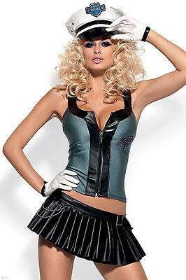 NEW Obsessive Sultry Policewoman 5 Pce Costume, Top/Matching Set