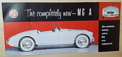 1956 MGA Dealer Sales Card Brochure Specifications