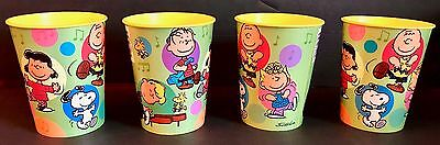 Snoopy Peanuts Gang Happy Dance 16oz Plastic Souvenir Cups Hallmark Schulz, 4 ct