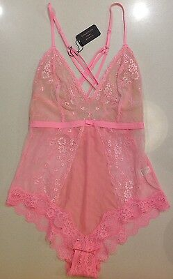Brand New Bras N Things Flamingo  Pink Lace Bodysuit Size 10  RRP$49.99