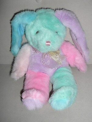 "13"" Vintage Mty Intl Pastel Blue Pink Purple Bunny Rabbit Stuffed Animal Plush"