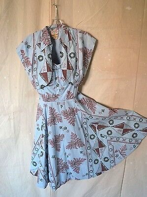 Vintage 2-Piece 1940s 50s NANIS HAWAIIAN Seaweed Novelty Print Dress and Bolero