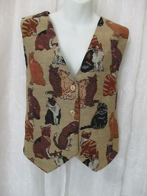 Tapestry Cats Vest, M L, Evelyn Ayers, US Made, Fall Colors, Clean & Near Mint!