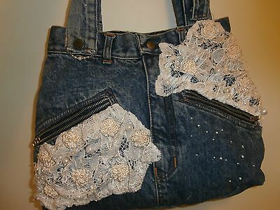 Denim, pearls and lace bag