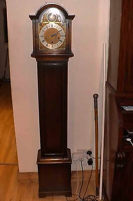 grandmother clock oak cased westminster chimes 8 day mechanical movement superb.