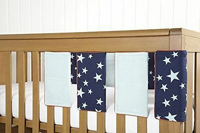 BN Mamas and Papas Patternology Soldier Boys Star Blue Cot Bar Bumper Covers X8