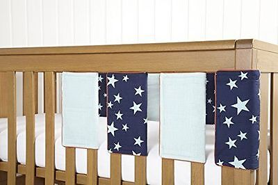 New Mamas & Papas Patternology Soldier Boys Star Blue Cot Bar Bumper Covers X 8