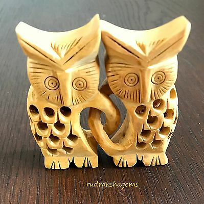 Set Of Two Owl Ornaments wooden Friends are forever Love friendship gift sisters