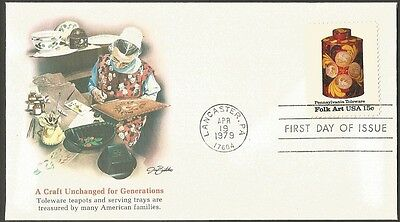 Us Fdc 1979 Pennsylvania Toleware Folk Art 15C First Day Of Issue Cover A