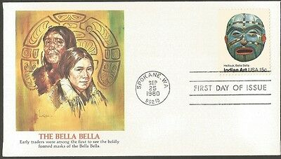 Us Fdc 1980 The Bella Bella Indian Art 15C Fleetwood First Day Of Issue Cover
