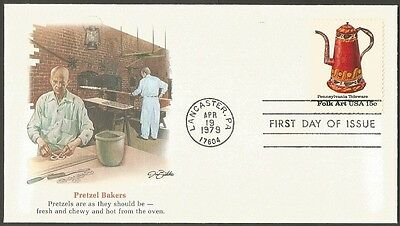 Us Fdc 1979 Pennsylvania Toleware Folk Art 15C First Day Of Issue Cover C