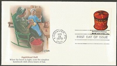 Us Fdc 1979 Pennsylvania Toleware Folk Art 15C First Day Of Issue Cover D