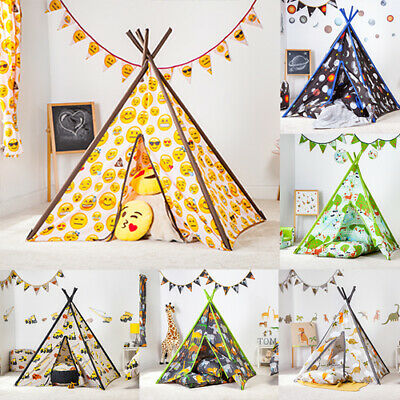 Childrens Fabric Play Tent Teepee Wigwam Bedroom Kids Indoor Den House Boys Girl