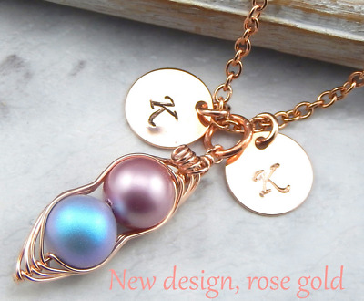 Rose Gold Two Peas in a Pod Necklace Kikiburra Jewellery