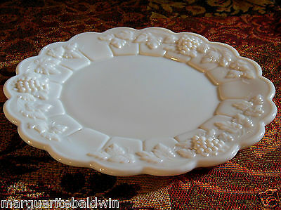"Westmoreland Milk Glass Opaque White Paneled Grape 8 1/2"" Salad Luncheon Plate"