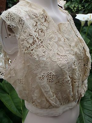 Antique Victorian French bodice hand worked lace show under shirt undergarment