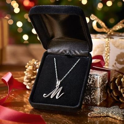 Diamond Initial Necklace sterling silver, set with a genuine 0.006ct diamond