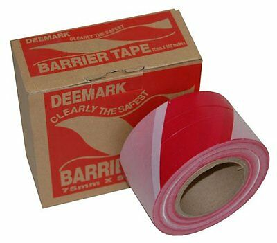 75mm x 500m Red White Barrier Tape Danger Hazard Warning Non Adhesive 1 Roll