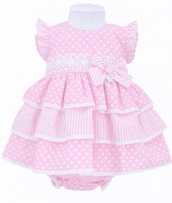 Girls Pretty Spanish Pink Tiered Bow Dress & Pants Set 12-18 Months
