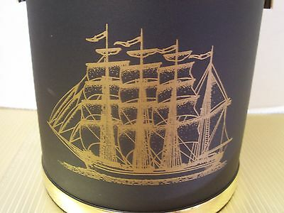Vintage Shelton Ware Nautical Ice Bucket Barware Ship Boat Black Gold Towle Comp