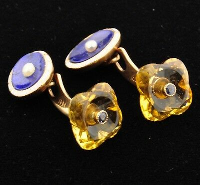 Antique Gold, Carved Citrine, Lapis, Pearl Reversible Cufflinks