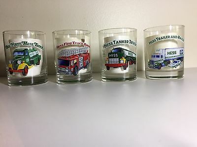 HESS 1996 Classic Toy Truck Series Glasses (set of 4 Drinking/Rocks Glass) EUC