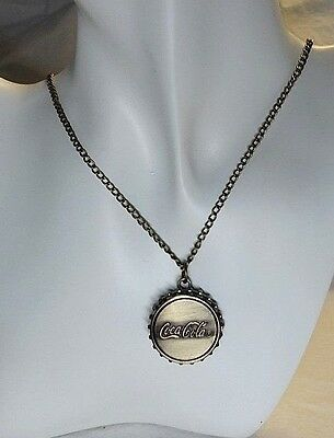 Coca Cola Bottle Cap Watch Pendant Necklace in Antique Gold - Really Cool!