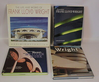 Lot of 4 Frank Lloyd Wright Books, Essential, Western Work, Life & Works,