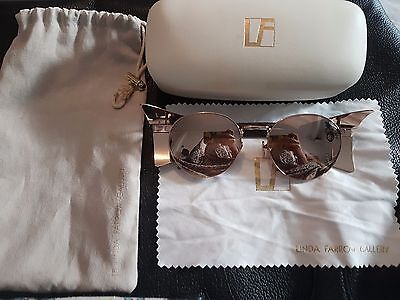 5976154da8 Linda Farrow Luxe Rose Gold Mirror Sunglasses with Patent Mocha Snake RRP  £735