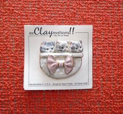 Ceramic Cat Pin -- Ex Claymations! --Kitties In A Pocket Or Basket--