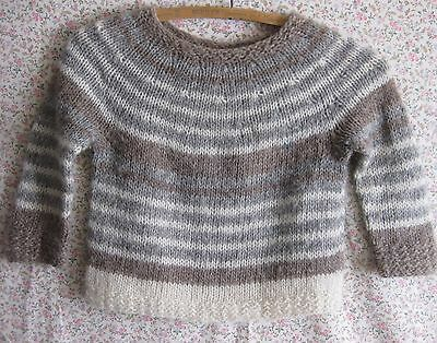 Child's Wool Sweater Hand Knit Grey Brown White Gender Neutral