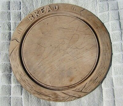 Carved BREAD board, round shape carved letters Antique Edwardian