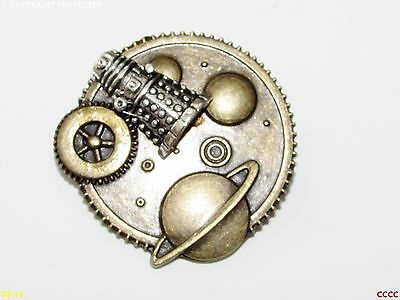 Steampunk badge brooch dalek planets Dr Who police box scifi timelord geek nerd