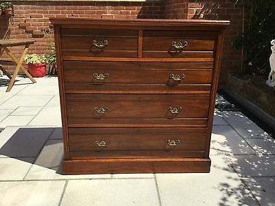 Edwardian Walnut Chest of Drawers. J.A. Shoolbred &Co.