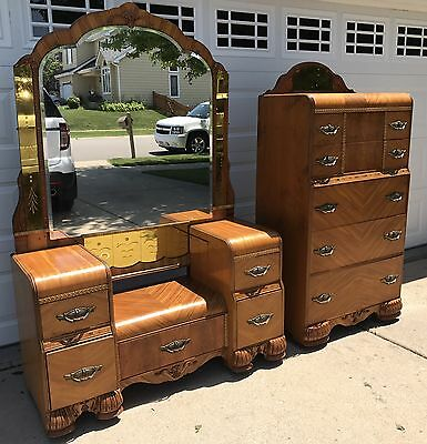 Antique Vintage Art Deco Chest Of Drawers And Vanity Dresser - sold as a set