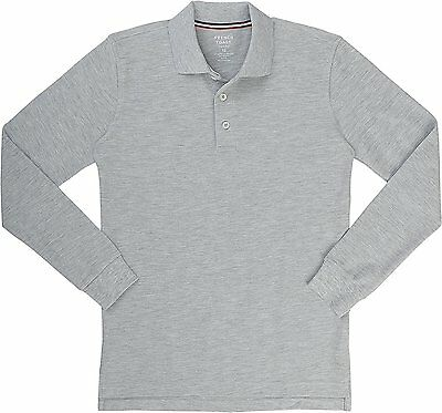 French Toast Boy's Long Sleeve Light Gray Pique Polo Shirt  NWT Size  6/7  or  8