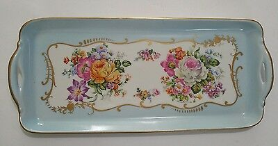 Plate Tray Porcelain Sevres Blue Floral Flowers Hand Painted