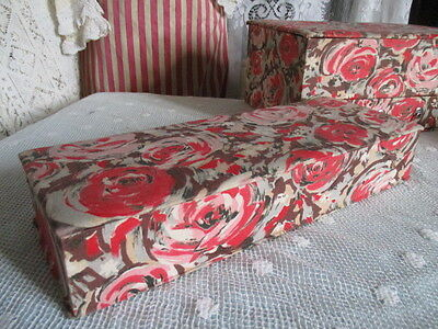 Antique Vintage French Fabric Covered Boudoir Glove Box