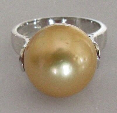 Secondhand 14ct White Gold Single Golden Pearl Ring Size K 1/2
