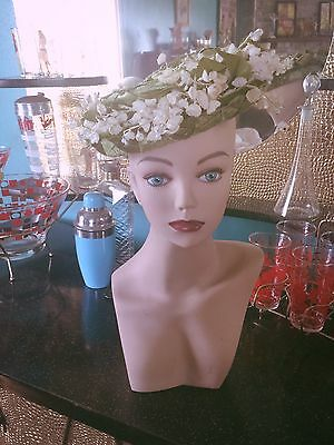 Vintage 1940s Hat Green White Floral Swing Rockabilly 40s 1950s 50s