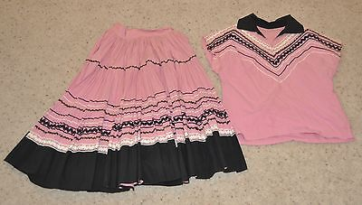 Vintage 1950 - 60's Squaw dress Skirt and Top 2 Piece Navajo Pink Black  Rickrac
