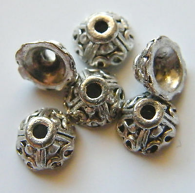 100pcs 7x3.5mm Metal Alloy Spacer Bead Caps - Antique Silver