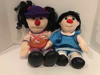 """Vtg 1995 Loonette 20"""" Molly 17"""" The Big Comfy Couch Stuffed Plush Rag Doll Pair"""